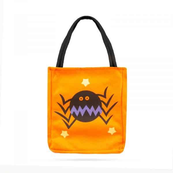Darilna vrečka za noč čarovnic - tekstil, pajek, 18 x 22 cm