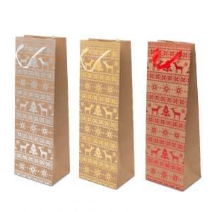 Darilna vrečka za steklenice s trakom - 36 x 12 x 9 cm