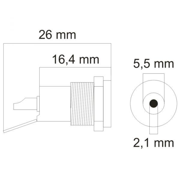 DC vtičnica - montažna - 5.5 / 2.1