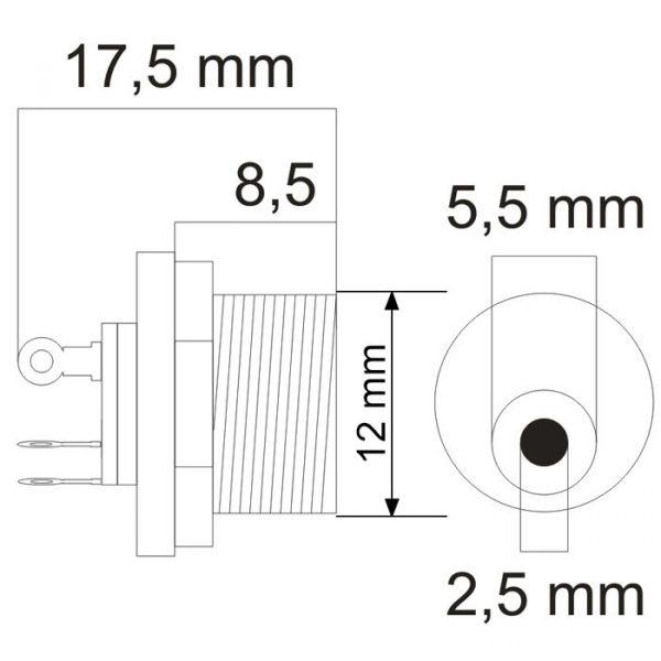 DC vtičnica - montažna - 5.5 / 2.5