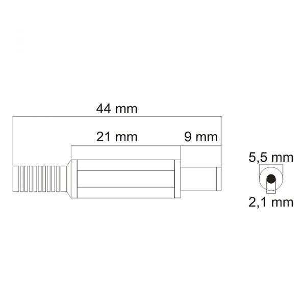 DC vtičnica z olajšavo napetosti - 5,5 / 2,1