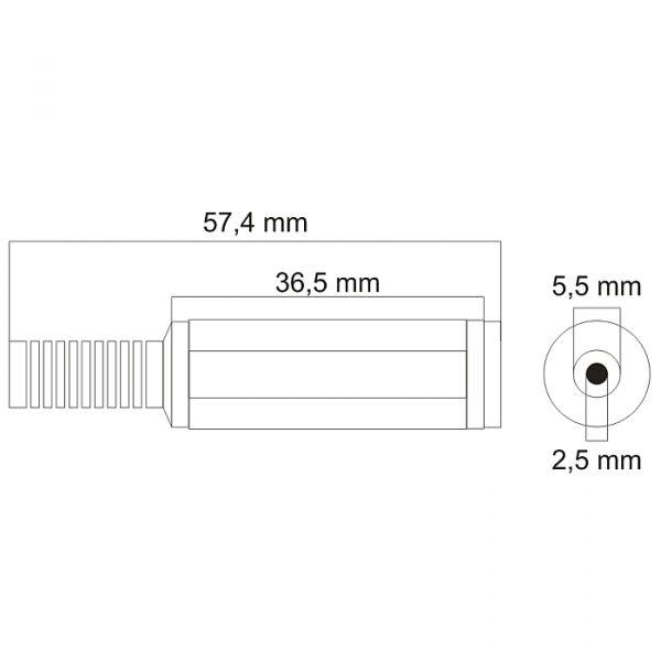 DC vtičnica z olajšavo napetosti - 5,5 / 2,5