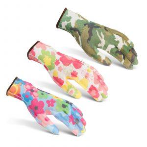 Delovne rokavice s cvetnim vzorcem - L