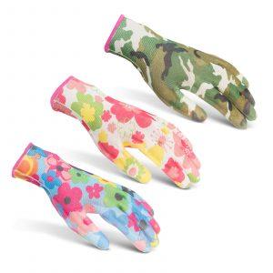 Delovne rokavice s cvetnim vzorcem - XS