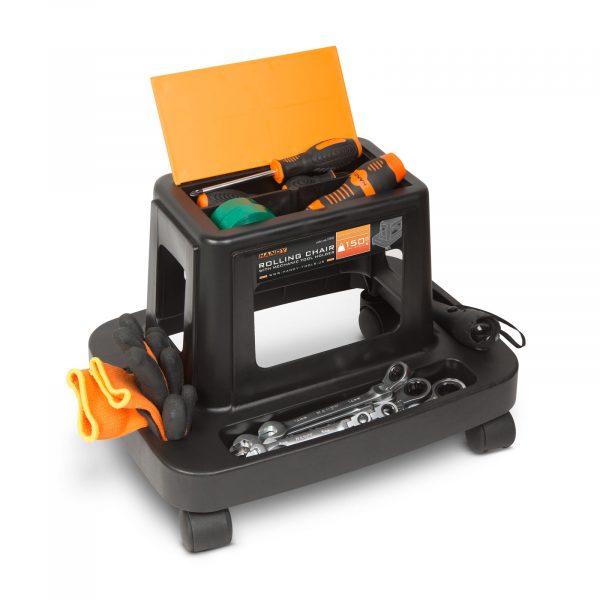 Delovni stolček na kolesih z držalom za orodje - plastika