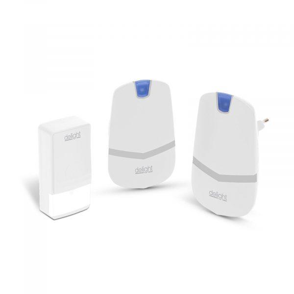 Digitalni brezžični zvonec KINETIC brez uporabe baterij z dvojno notranjo enoto beli