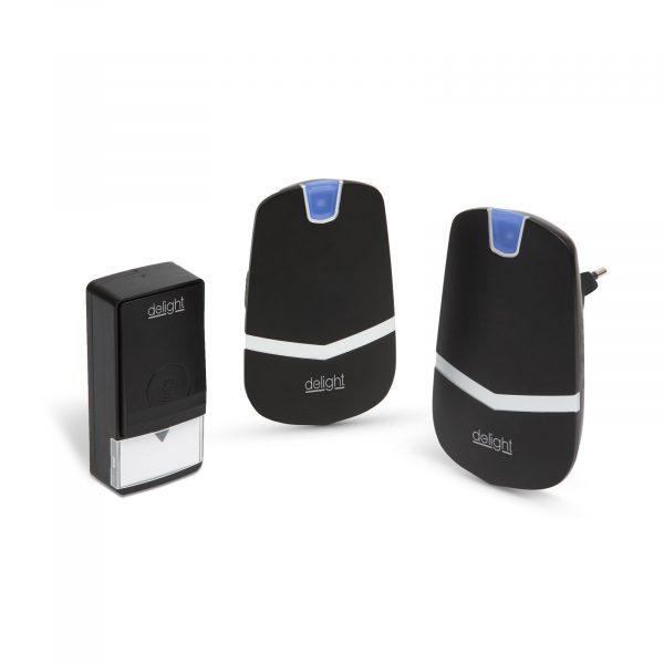 Digitalni brezžični zvonec KINETIC brez uporabe baterij z dvojno notranjo enoto črni