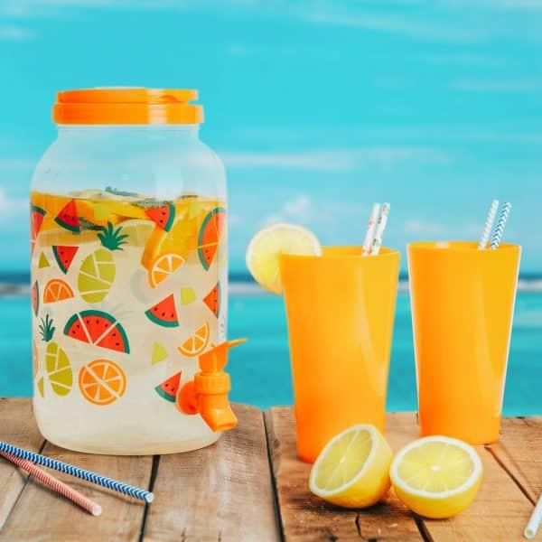 Dispenzer za pijačo s pipo in plastičnimi skodelicami - 3,8 l - oranžen
