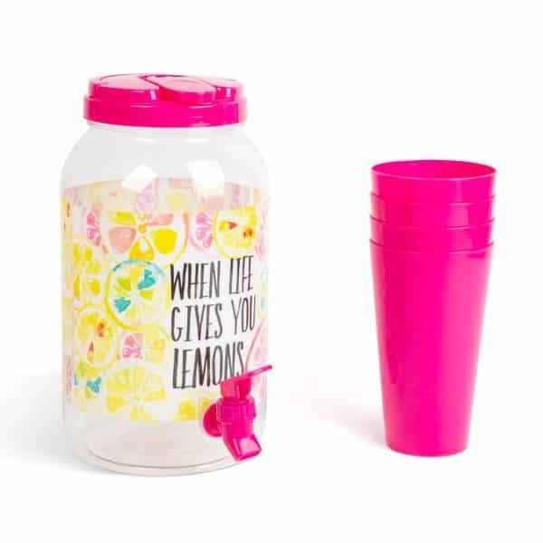 Dispenzer za pijačo s pipo in plastičnimi skodelicami - 3,8 l - roza