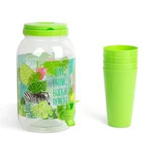 Dispenzer za pijačo s pipo in plastičnimi skodelicami - 3,8 l - zelen