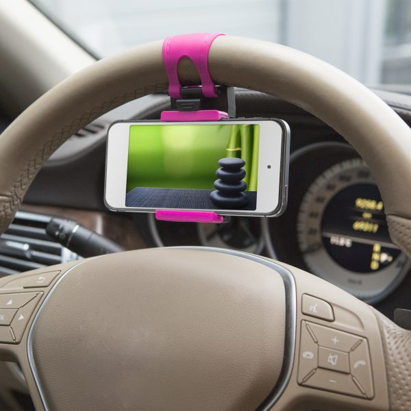 Držalo za mobilni telefon za volanski obroč, pink
