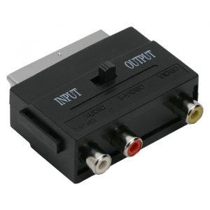 EURO / RCA adapter, 3 RCA vtičnice, - EURO-SCART vtič