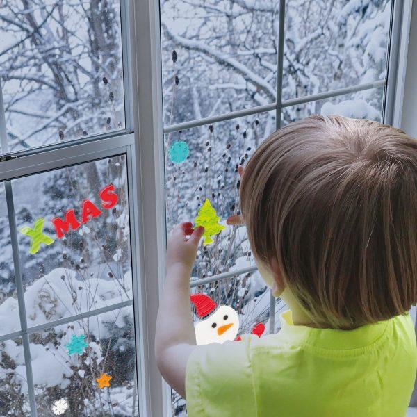 Gel okenska dekoracija - božična, 12 kosov / paket