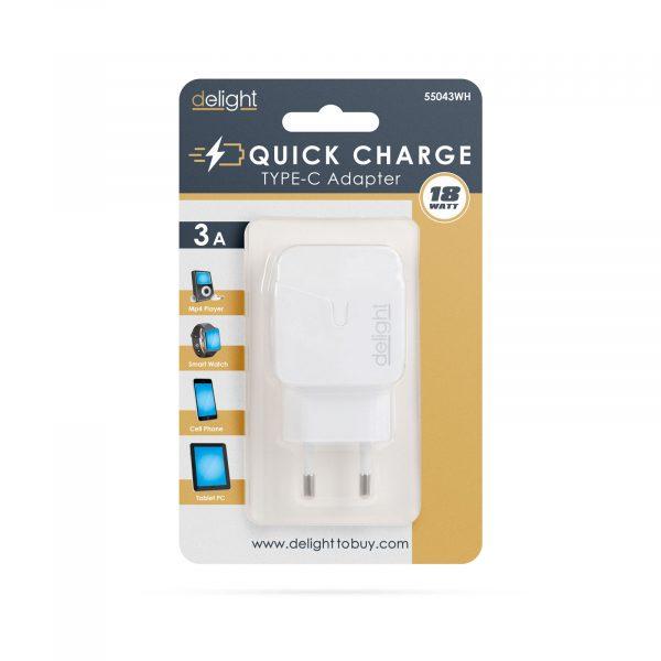 Hišni polnilnik za hitro polnjenje USB-C PD18W - bel