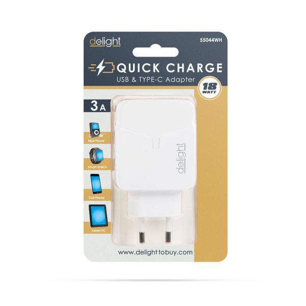 Hišni polnilnik za hitro polnjenje USB + USB-C PD18W - bel