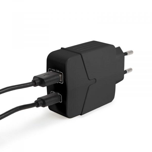 Hišni polnilnik za hitro polnjenje USB + USB-C PD18W - črn