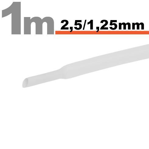 HTermoskrčljiva cev - skrčka - bela - 2,5 / 1,25 mm