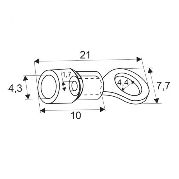 Izolirana priključek - obročni tip - 4,3 / 1,7 mm - rdeč