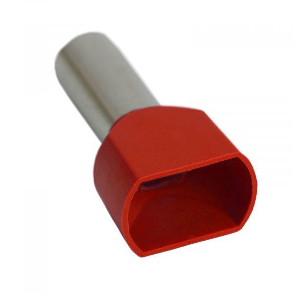 Izolirani končni terminal konektor za kable 2 x 10 mm2 rdeč