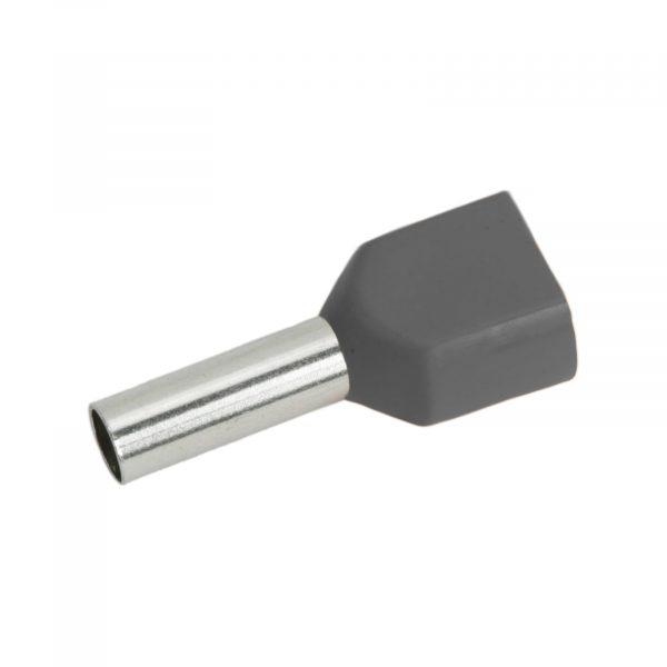 Izolirani končni terminal konektor za kable 2 x 4 mm2 siv