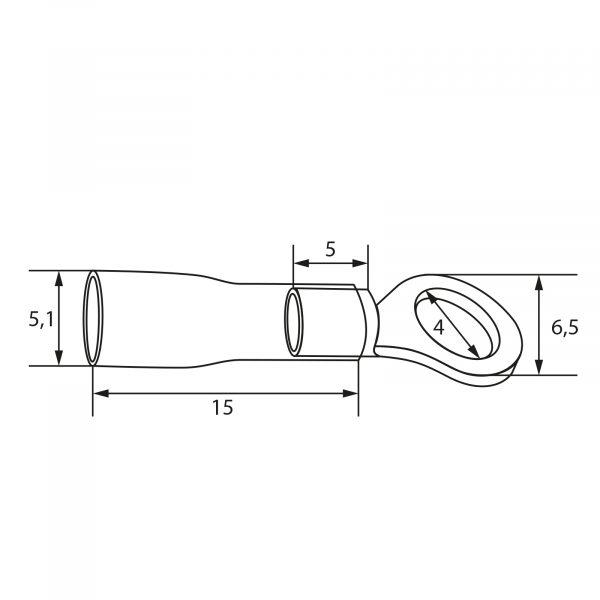Izolirani priključek i- tip obroča - pozlačen - 4/2 mm - črn
