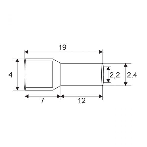 Izolirani terminal konektor - za kable 2,5 mm² - moder