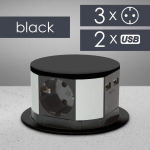 Izvlečna vtičnica 3x + 2 USB - črna