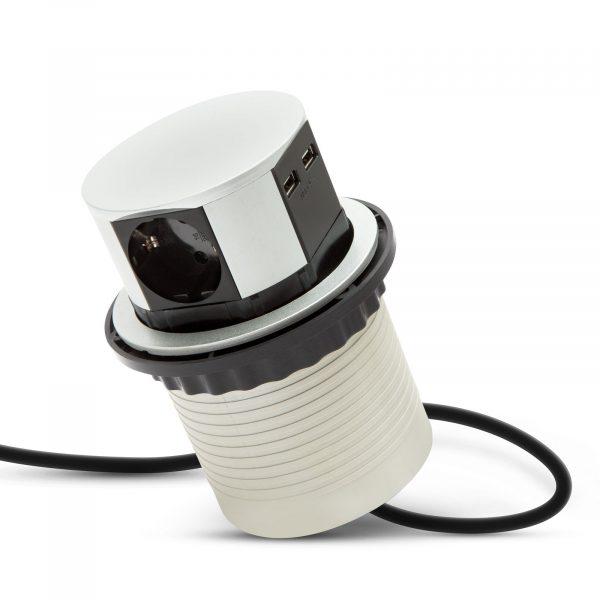 Izvlečni potopni razdelilec 3 x 250 V + 2 x USB