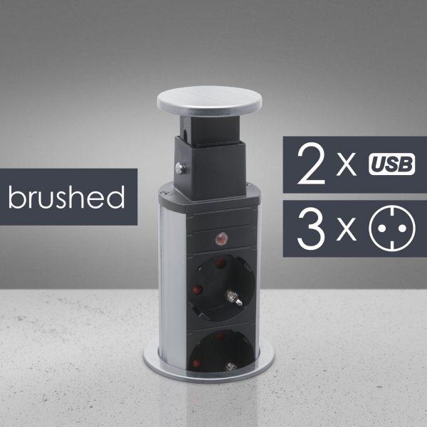 Izvlečni potopni razdelilec 3 x 250 V + 2 x USB - brušen videz