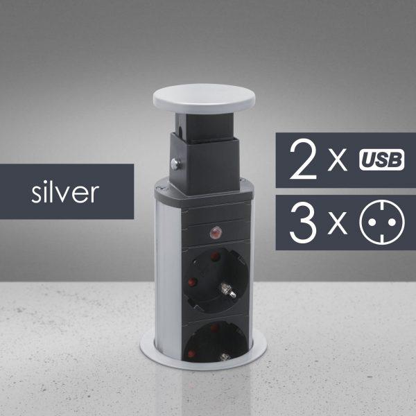 Izvlečni potopni razdelilec 3 x 250 V + 2 x USB - srebrni