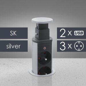 Izvlečni potopni razdelilec 3 x 250 V + 2 x USB - srebrni - SLOVAŠKI TIP