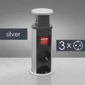 Izvlečni potopni razdelilec 3 x 250 V - srebrni s stikalom