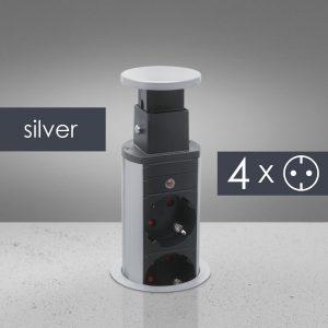 Izvlečni potopni razdelilec 4 x 250 V - srebrni