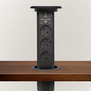 Izvlečni potopni razdelilec - črn, 3 x 250 V + 2 x USB