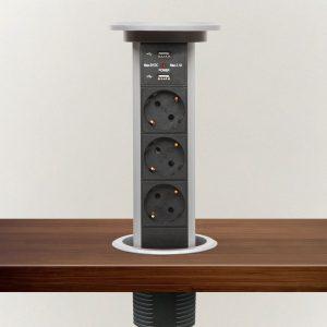Izvlečni potopni razdelilec - srebrn, 3 x 250 V + 2 x USB