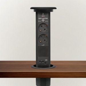 Izvlečni potopni razdelilec z bluetooth zvočnikom, črn 2 x 250 V + 2 x USB + AUX
