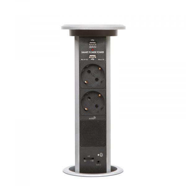Izvlečni potopni razdelilec z bluetooth zvočnikom, srebrn 2 x 250 V + 2 x USB + AUX