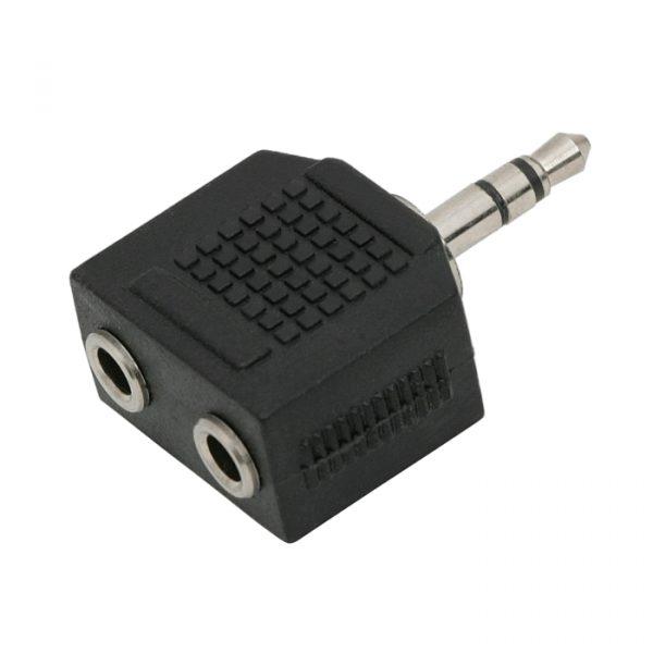 JACK-adapter z 2 x 3.5 vtičnico JACK, - 3.5 vtič JACK (stereo)