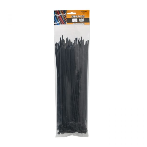 Kabelske vezice - 300 x 4,6 mm - 100 kosov / paket - črne
