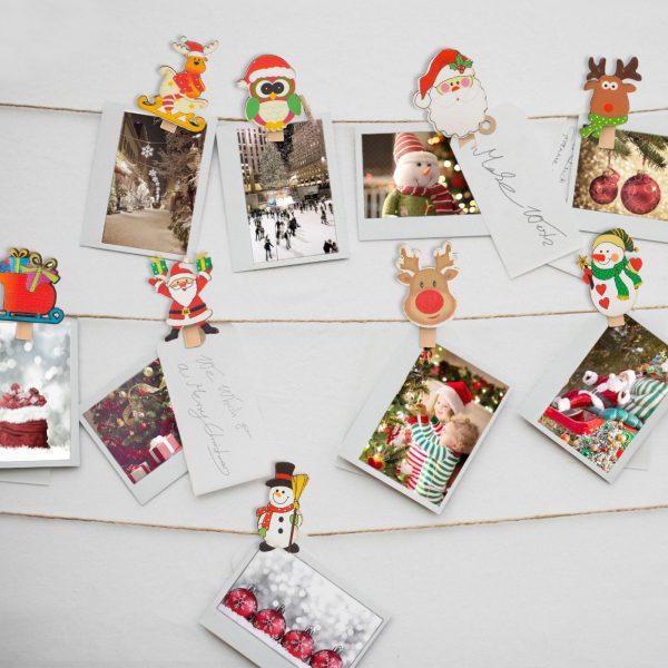 Komplet božičnih ščipalk - različne, 8 kosov / paket