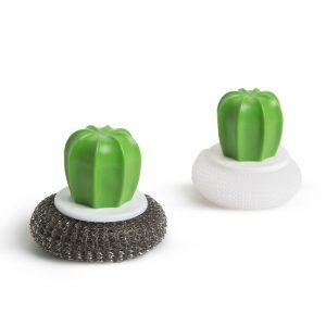 Komplet gob za čiščenje - 2 kosa - kaktus - 8,5 x 8 cm