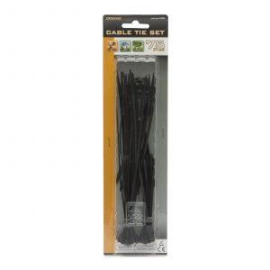 Komplet kabelskih vezic - 75 kosov / paket - črne