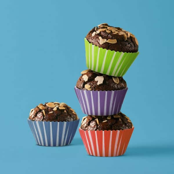 Komplet papirjčkov za muffine - črtasti - 100 kosov / paket