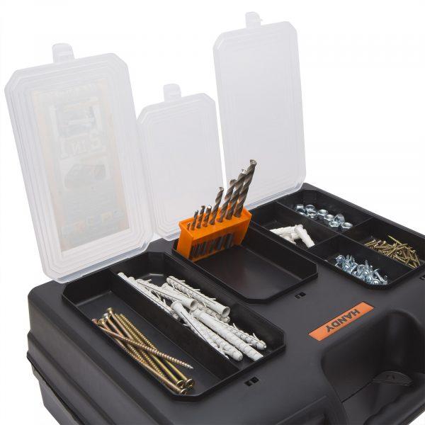 """Kovček za shranjevanje iz umetne mase + držalo za orodje 2 v 1 - 15,7 """" -  400 x 300 x 155 mm"""