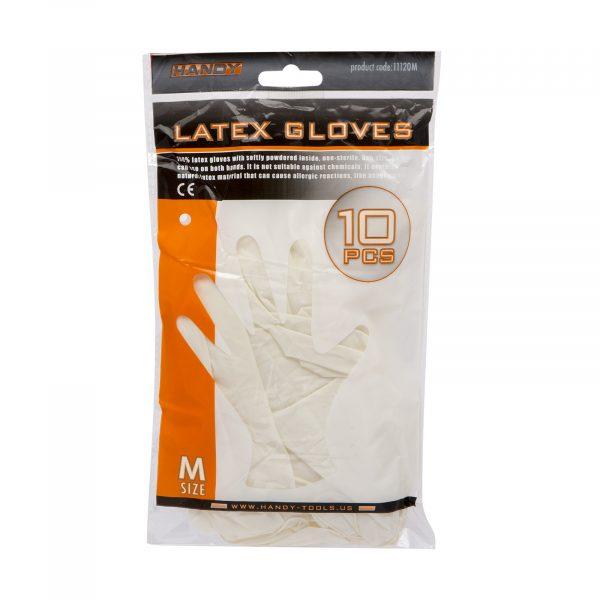 Latex rokavice, M, 10 kosov / pakiranje