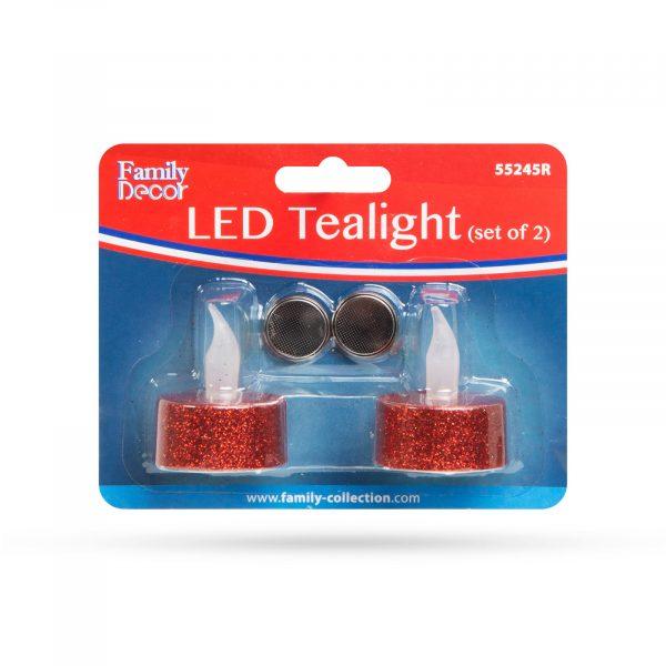 LED čajna svečka - rdeča - 2 kos