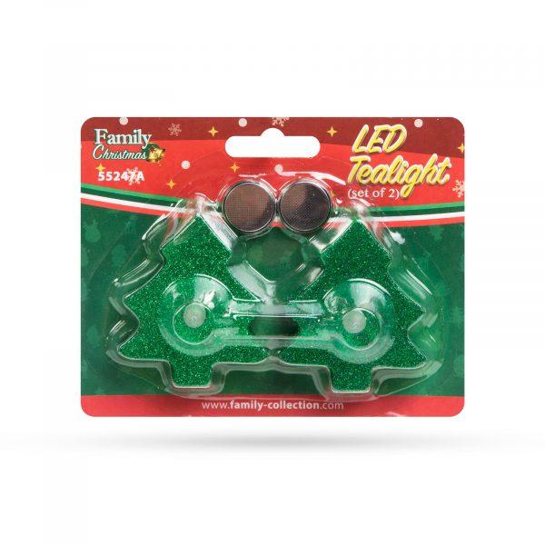 LED čajna svečka - smrekica - zelena - 2 kos / paket