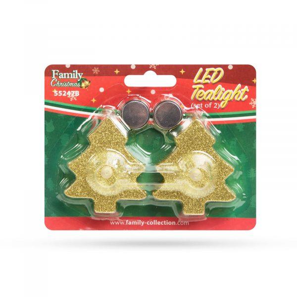 LED čajna svečka - smrekica - zlata - 2 kos / paket
