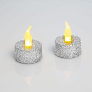 LED čajna svečka - srebrna - 2 kos
