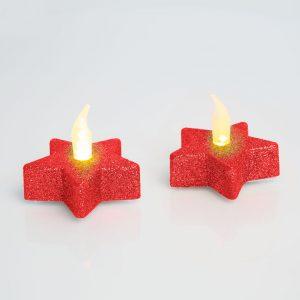 LED čajna svečka v obliki zvezde v rdeči barvi, 2 kosa / blister